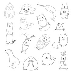 Sketch various northern animals. Large set. Vector illustration
