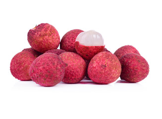 Fresh lychees red isolated on white
