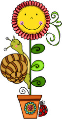 Cute snail with sunflower in vase