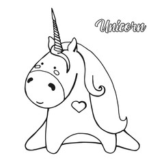 Sketch of unicorn isolated on white background. Vector illustration