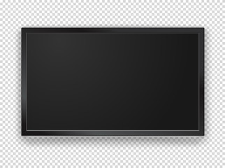 Modern black tv frame with blank screen vector mockup. 1920 on 1080 HD proportion screen. Vector object isolated on transparent background