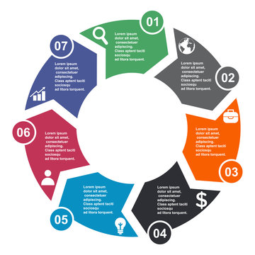 7 step vector element in seven colors with labels, infographic diagram. Business concept of 7 steps or options with empty