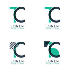 Four abstract CT logo posts set with dot and slash, green and black. very suitable for corporate identity, business, letterhead ,cards and banners