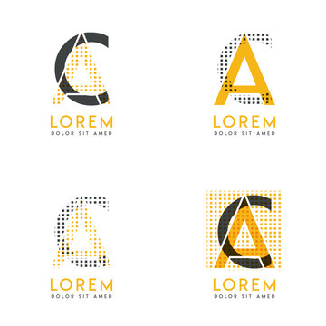 a set with four abstract AC logo. Suitable for websites and corporate identity, and can be used for banner, card and business. this logo is yellow and gray