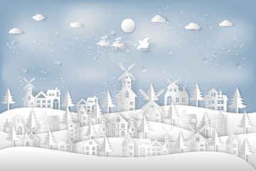 Santa Claus on Sleigh and Reindeer in the snow village in the winter background as holiday and x'mas day concept. vector illustration.