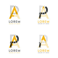 a set with four abstract AP logo. Suitable for websites and corporate identity, and can be used for banner, card and business. this logo is yellow and gray