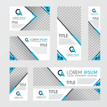 AC logo for ad banners, blue and suitable for digital ads on websites. a set of ad designs with transparent backgrounds, suitable for advertising companies, financial businesses, consulting companies
