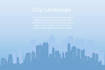 City landscape. Downtown landscape with Modern architecture Urban.  Horizontal banner with megapolis panorama.