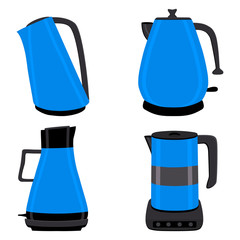 Vector illustration for set of colored electric teapots