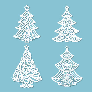 set of patterns for laser cutting. Christmas tree. For the design of greeting cards, congratulations, menus, etc. For cutting from paper, wood metal.