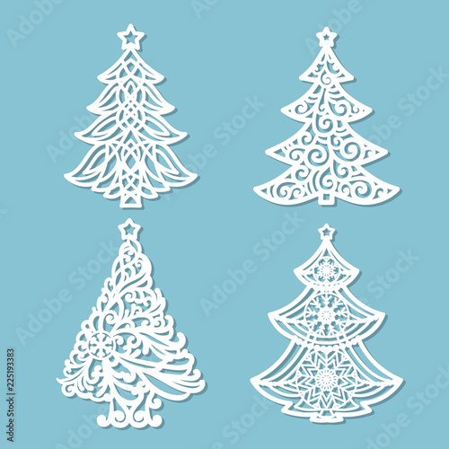 Set Of Patterns For Laser Cutting Christmas Tree For The Design Of