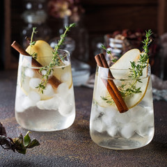Pear cocktail with thyme