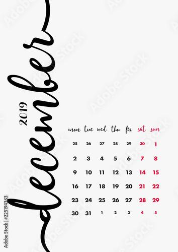 Desk-Sized December 2019 Calendar Desk Calendar 2019 Design. Page 12 of 12   December 2019. 12