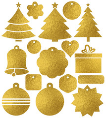 Set of color golden glittering christmas labels, box, tree, bell, heart, star, vector illustration