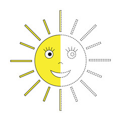 drawing worksheet for preschool kids with easy gaming level of difficulty. Simple educational game for kids. Illustration of the Sun for toddlers