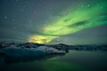 Laguna Jokulsarlon Islanda Aurora Boreale Fototapete
