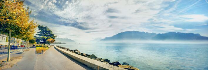 Wall Mural - Embankment of Geneva Lake in Vevey town. Vaud canton, Switzerland
