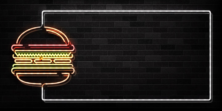 Vector realistic isolated neon sign of Burger frame logo for decoration and covering on the wall background. Concept of fast food, cafe and restaurant.