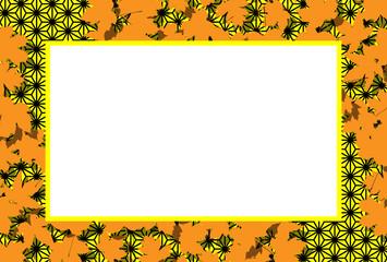和風背景素材,秋のイメージ,紅葉,かえでの葉,落葉,枯れ葉,フォトフレーム,コピースペース,,麻葉柄