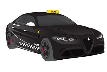 Automobile sportiva italiana modello taxi nero con linee bianche. Supercar per autonoleggio e transfer