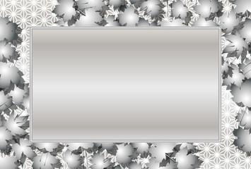 背景素材,秋,紅葉,楓の葉,落ち葉,写真スペース,メッセージボード,和柄,麻葉,タイトル枠,和風額縁