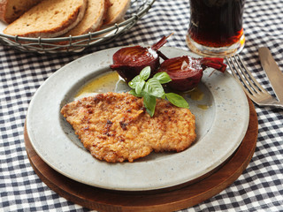 Dutch schnitzel with baked beetroot