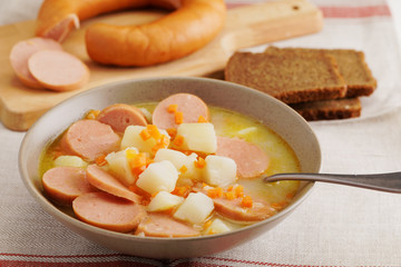 Dutch soup with Rookworst sausages