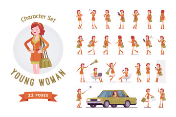 Attractive red-haired lady ready-to-use character set