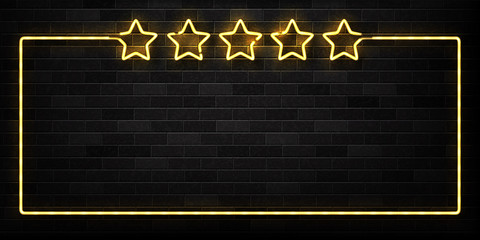 Vector realistic isolated neon sign of Five Stars frame logo for decoration and covering on the wall background. Concept of luxury and VIP.