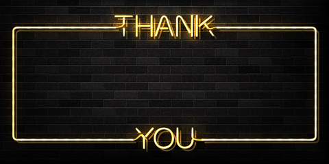 Vector realistic isolated neon sign of Thank You frame logo for decoration and covering on the wall background.