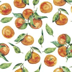 Watercolor tangerines seamless pattern. Fresh citrus fruit tangerine isolated on white background
