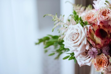 wedding bouquet with rose bush