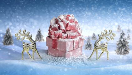 Christmas deer. gift box for Christmas, New Year's Day