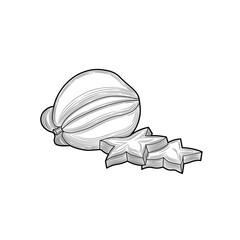 Carambola. Half of Carambola. Fruits. Tropical fruit. Illustration. Isolated on white background.
