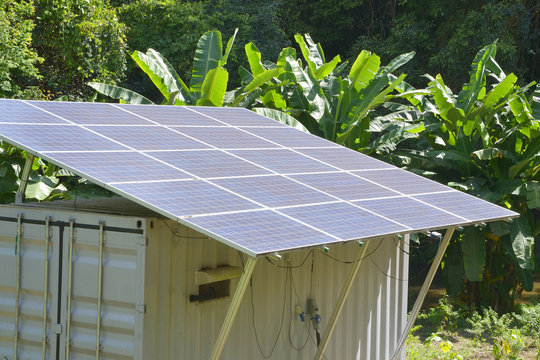container box with solar panels
