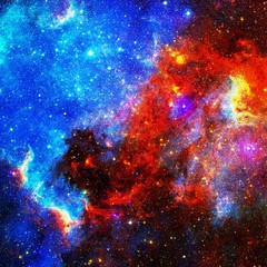 Purple and Red Universe Galaxy Art with Elements From NASA