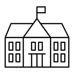 School thin line icon. Building vector illustration isolated on white. College outline style design, designed for web and app. Eps 10.