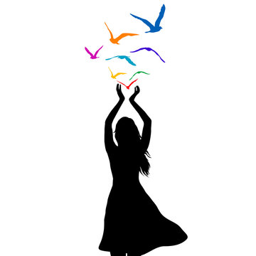 Abstract illustration of a woman silhouette with birds flying from her hands