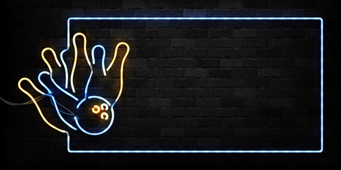 Vector realistic isolated neon sign of Bowling frame logo for decoration and covering on the wall background. Concept of game sport and bowling club.