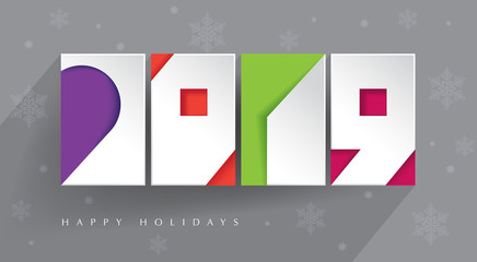 contemporary design. Four color blocks and white paper 2019 cut-outs on gray background with long shadow. Happy Holidays. New 2019 year.