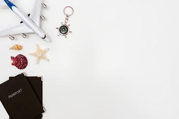 Summer Travel accessories on white background