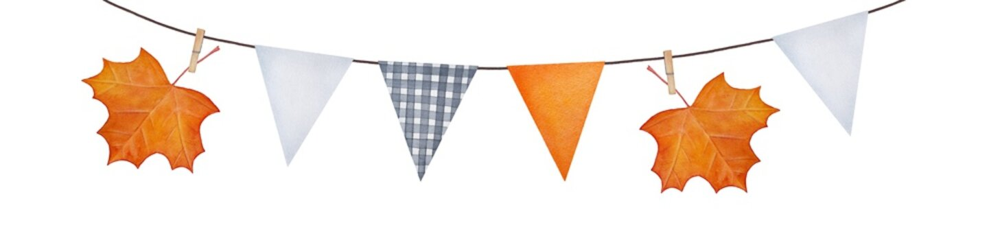 Autumn season festive decorative bunting with colorful maple leaves, wooden peg clips and various pennants. Hand drawn water color painting on white, cut out clip art element. Holiday, party decor.