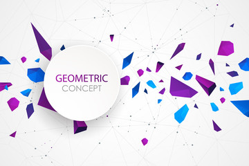 Abstract polygonal vector background with connecting dots and lines. Explode geometric shapes.