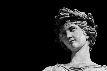 Zelfklevend Fotobehang Historisch mon. Ancient Roman or Greek neoclassical statue in Rome (Black adn White with copy space)
