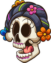 Traditional Mexican catrina skull. Vector clip art illustration with simple gradients. All in a single layer.