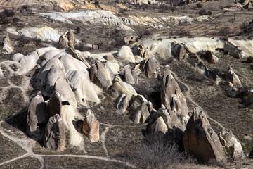 Geological stones shapes in Esbelli Neighbourhood, Cappadocia