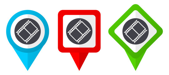 Film red, blue and green vector pointers icons. Set of colorful location markers isolated on white background easy to edit.