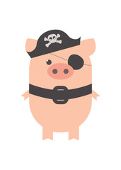 A pig in a pirate costume. A pig pirate, in a pirate hat. Cartoon, vector