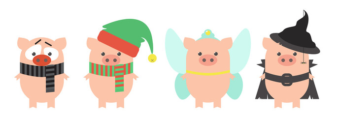 Pig in carnival costumes. Set. Pig in the costume of the New Year's elf, mime, fairies and witches. Cartoon, vector