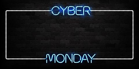 Vector realistic isolated neon sign of Cyber Monday frame logo for decoration and covering on the wall background. Concept of electronics market, sale and discount.